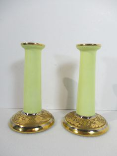 Candlestick Holders B&Co Limoges Porcelain Gilt Pale Yellow Vintage Bernardaud Candlestick Holders, Candlesticks, Holiday Tables, China Dinnerware, Porcelain, Pottery, Decorations, Yellow, Glass