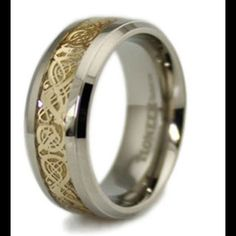 Titanium mens ring Titanium Men's Ring with Golden Dragon Design Inlay,  Comfort Fit Ring Width of 8MM HR2009SD12,  Check avail for sizes, 7-10 s/h. Jewelry Rings