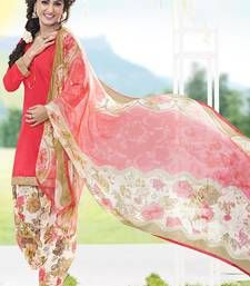 Buy Pink cotton printed semi_stitched salwar with dupatta cotton-salwar-kameez online