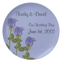 Indigo Roses Wedding Plate http://www.zazzle.com/indigo_roses_wedding-115196995056384676?rf=238631258595245556