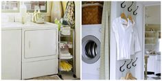 Sleek and slim rolling carts, which can tuck on the side or in-between the washer and dryer, area always a space saving storage win.  As are wall hooks when there is no space for an entire hanging rod setup.