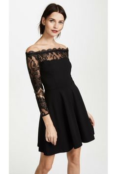 $110 BB Dakota Dennett Lace Off the Shoulder Dress This fit-and-flare BB Dakota dress has an alluring off-shoulder neckline trimmed with scalloped lace. Sheer back panel and long sleeves. Hidden back zip. Unlined. #dresses, #dakotadennett, #affiliate this contains an affiliate link