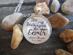 Too Beautiful for Earth Personalized Bible Verse Necklace Charm Pendant Necklace by SweetBirdieBlessings on Etsy