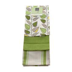 SUPERB QUALITY SET OF THREE GREEN LEAF 100% COTTON TEA TOWELS*FREE UK DELIVERY*   eBay