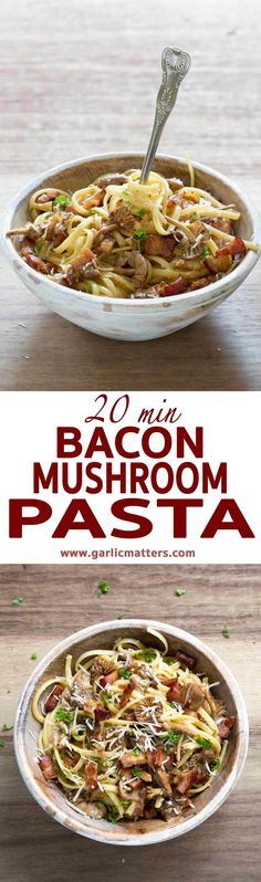 Classic Bacon Mushroom Pasta recipe is an easy, 5 ingredient, gluten free comfort-food dish you can make in only 20 minutes. It is full of familiar flavours meal, perfect for lunch or dinner in any season. Mushroom Pasta, Bacon Mushroom, Risotto Recipes, Pasta Recipes, Pasta Dishes, Food Dishes, Easy Mushroom Recipes, Bacon Recipes, Free Recipes