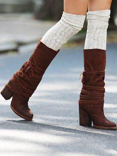 Boots marron + chausette blanche