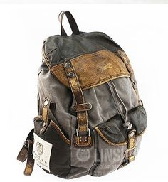 "Linshi Tasks ""Grandview"" Men's Trendy Canvas Backpack with Leather Straps - Grey Brown - ModernManBags.com"