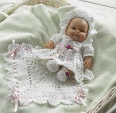 PA987 Baby Chloe Crochet Pattern- http://www.maggiescrochet.com/baby-chloe-p-1289.html#.UVSEqVeNpZ0 #crochet #pattern #baby #doll #clothing #dress #outfit
