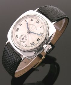An early silver cushion vintage Rolex Oyster watch, 1920s . - Click picture for more info...