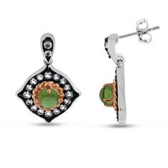 Viola, Round-cut Peridot & White Topaz Earring in Sterling Silver Pink Plated