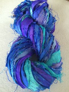 Recycled sari silk ribbon. Art yarn. King's Blue. 10 yards, knitting, crochet, rug hooking and more. Silk ribbon. Ethical magical art yarn. by Yarnyarnyarns on Etsy https://www.etsy.com/listing/231409492/recycled-sari-silk-ribbon-art-yarn-kings