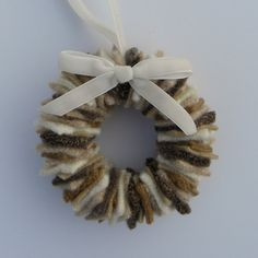 Rescued+Wool+Wreath+Ornament++Sweater+Wreath+in+Sand+by+aliciatodd,+$7.99