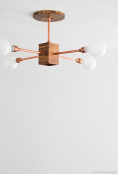 DIY Hanging Wood And Copper Light Fixture