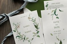 Green Foliage Wedding Invitation by KlapauciusCo on @creativemarket