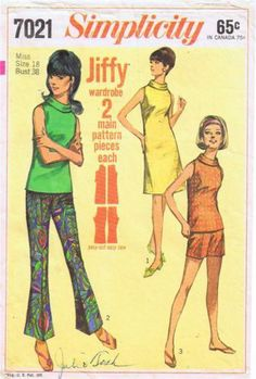 Simplicity 7021 Misses Dress Blouse bell bottom pants shorts PATTERN size 18 1960s