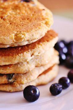 Lemon Blueberry Cornmeal Pancakes (Vegan & Gluten Free, sub for maple syrup)