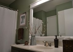 Bathroom Mirror Framed With Crown Molding, Bathroom Ideas, Home Decor, Framed  Bathroom Mirror With Crown Molding | Random | Pinterest | Frame Bathroom ...