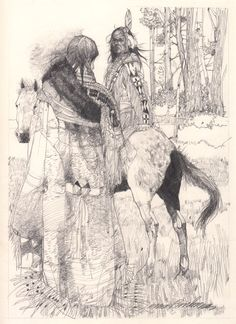 From Tonweya and the Eagles, and other Lakota Indian Tales, original illustration by Jerry Pinkney available at the R.Michelson Galleries