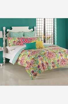 $99 Full/Queen set- comforter, 2 std shams (green print Euro shams are $49.99) KAS Designs 'Nyah' Duvet Cover Set available at #Nordstrom