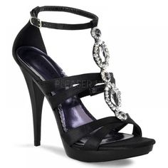 Strappy t-strap sandal with adjustable ankle strap featuring large rhinestone ornamentation ... Revel-18 from Pleaser USA ... $73.75 ... Enter PINTEREST during checkout to save an additional 10%