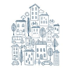 Town doodles in house shape royalty-free stock vector art