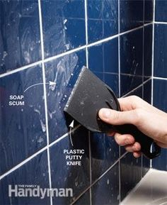 Scrape scum with a plastic putty knife Soap has a nasty way of forming a hard-to-remove film on tile in tubs and showers. You won't get rid of it by rubbing. Instead, wait for the surface to dry, then scrape off the scum with a 4-in. plastic putty knife.