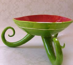 watermelon red & green serving dish with long curly by maryjudy