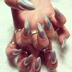Holographic Almond/Stiletto Nails
