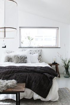 Cozy Scandinavian bedroom with a white lantern above the bed, a cut-out window, . Cozy Scandinavian bedroom with a white lantern above the bed, a cut-out window, gray and white bedd Wood Bedroom, Home Decor Bedroom, Bedroom Furniture, Bedroom Ideas, Bedroom Designs, Master Bedroom, Master Suite, Calm Bedroom, Master Master
