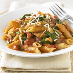 Spinach Walnut Penne ... this hearty pasta only takes 25 minutes to prepare!