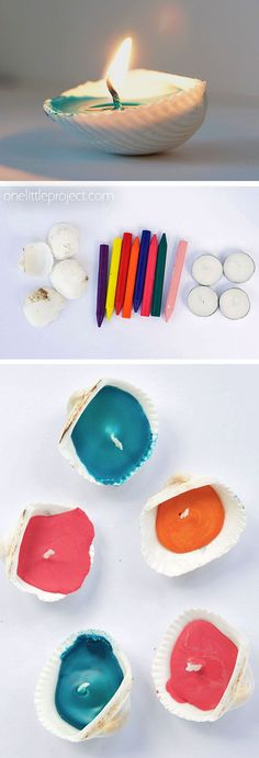 These seashell candles are SO PRETTY! They're a perfect for summer time! Such an awesome beach craft idea and great for an outdoor party! Plus they're really easy to make! Turn those pretty shells you've collected at the beach into beautiful candles! Crafts For Teens To Make, Easy Arts And Crafts, Arts And Crafts Projects, Diy Crafts To Sell, Sell Diy, Kids Diy, Diy Projects, Beach Crafts, Summer Crafts