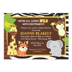 Zebra Print Jungle Safari Baby Shower Invitation