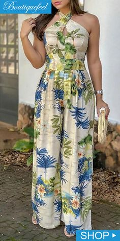 Crisscross Halter Tropical Print Jumpsuits is part of pencil-drawings - pencil-drawings Chic Outfits, Dress Outfits, Fall Outfits, Fashion Outfits, Womens Fashion, Dress Clothes, Floral Jumpsuit, Printed Jumpsuit, African Fashion Dresses