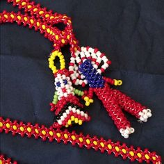 Native American Beaded Necklace Big Chief and pretty little squaw. Intricate beadwork necklace. Jewelry Necklaces