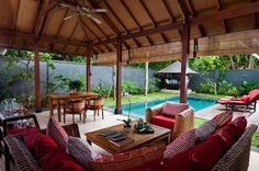 Home design, Outdoor Living Room And Home Office In Terrace House With Swimming Pool And Gazebo In Balinese Home: Healthy home design and ec...