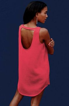 Love the back of this hot pink cut-out dress.