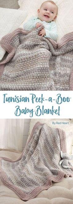 Tunisian Peek-a-Boo Baby Blanket free crochet pattern in Soft Essentials.