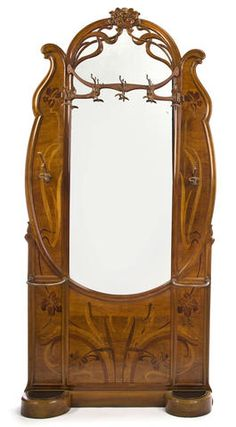 A good Art Nouveau fruitwood marquetry-inlaid hall stand circa 1900