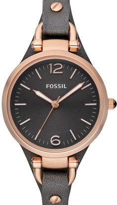 #Fossil #Watch , Fossil Women's ES3077 Georgia Smoke Leather and Rose Gold-Tone Stainless Steel Watch