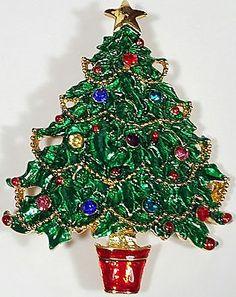 Vintage Pin Christmas Tree Green Red Glass Rhinestone.