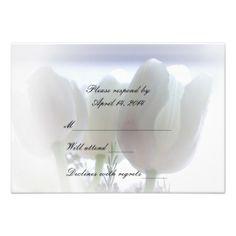 White Tulips RSVP Custom Invitations
