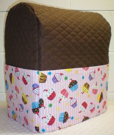 Chocolate Brown Quilted Pink Cupcake Cover for 4.5, 5, 6qt Kitchenaid Professional Series Lift Bowl Mixer w/6 Pockets