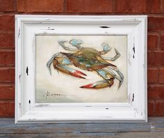 Framed Blue Crab Painting by ShyrAndCo on Etsy, $165.00
