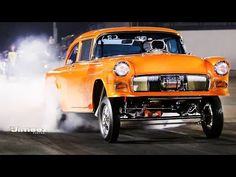 """'55 GASSER! """"ORANGE KRATE"""" '14 VIDEO MONTAGE/PIX Published on Sep 27, 2014  After blowing a water pump last Friday night on his first pass at RT66 Dave VerSchave comes back with his show winning '55 Chevy Gasser with a Pump Gas 496ci and sets his best ET to date with a 10.46@127.49mph on his first pass and then hangs them high on the next pass enroute to a 10.54@127.41mph at RT66 Test n Tune 9-26-14"""