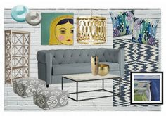 shades of grey and blue living room