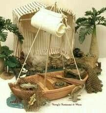 Fishing pesebre Christmas Crib Ideas, Christmas Clay, Christmas Crafts, Fontanini Nativity, Modelos 3d, Miniture Things, Miniature Dolls, Diy And Crafts, Biblical Art