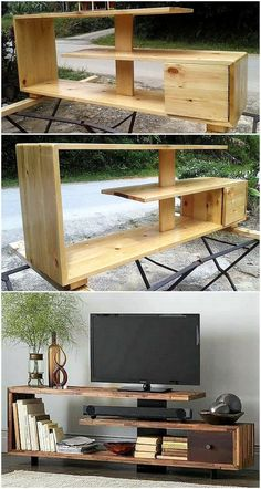 Now enhance the charming look of your lounge by crafting this DIY pallet tv stand project. This smartly constructed pallets tv stand design seems modern as well as stylish according to latest furniture trends. Tv Pallet, Pallet Tv Stands, Wooden Pallets, Pallet Lounge, Pallet Walls, Wooden Diy, Diy Pallet Furniture, Diy Pallet Projects, Furniture Ideas