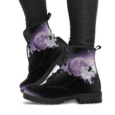Time to strap on your witchy boots and ride with pride! Beautiful mystical design available only on Spirit Nest. Original design digitally printed and handcrafted. High-quality vegan artificial leather, durable and eco-friendly. Vegan Boots, Artificial Leather, Pretty Shoes, Shoe Closet, Custom Shoes, Dr. Martens, Me Too Shoes, Shoe Boots, High Top Sneakers