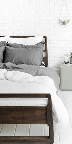 Slate bedding in Percale fabric with white duvet cover in Linen | In Collaboration with Parachute Home