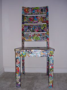 Comic Book Modge Podge Chair  I am so making this for Stevie!  i'd do my own spin and maybe make a chair or table w/pictures of music albums/singers